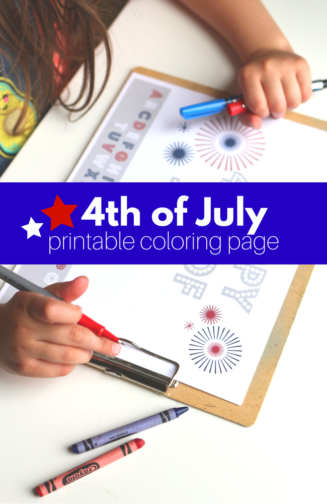 4th of July Printable Coloring Page - No Time For Flash Cards