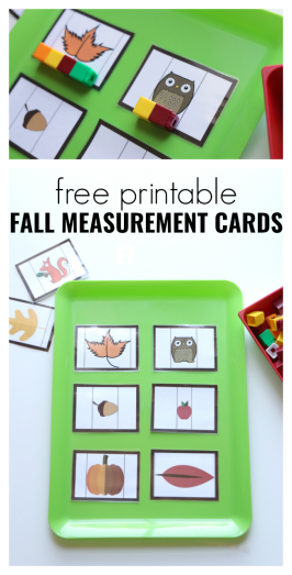 Fall Measurement Cards for Preschool – Free Printable Fall Math Activity