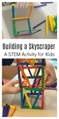 STEM craft for kids building a skyscraper