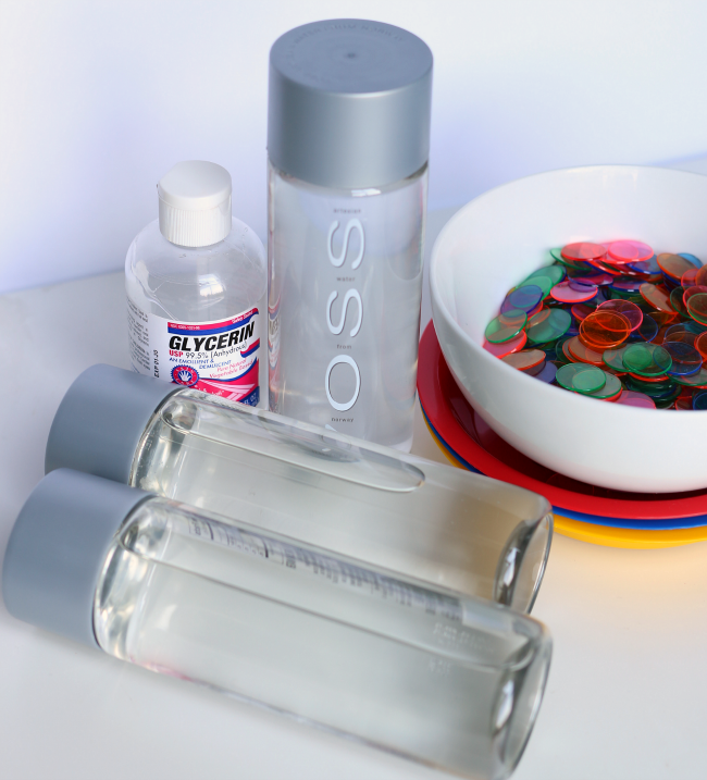 color mixing sensory bottles NO OIL