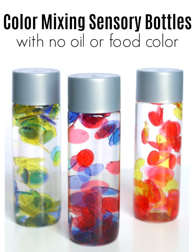 No Oil No Food Color Color Mixing Sensory Bottles No Time For Flash Cards