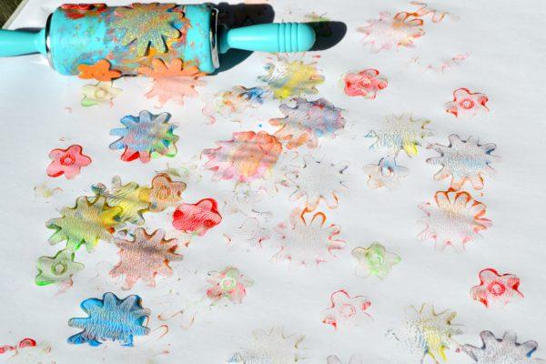 foam sticker painting flowers final process
