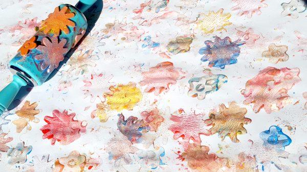 foam sticker roller painting in process