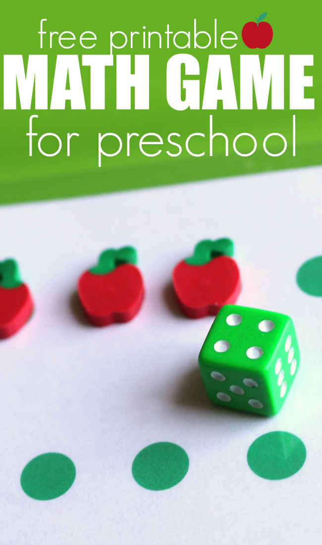 free printable math game for preschool part of the apples uint of the Thematic Units available from no time for flash cards