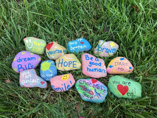 Creating kindness rocks with kids no time for flash cards for Spray paint rocks for garden