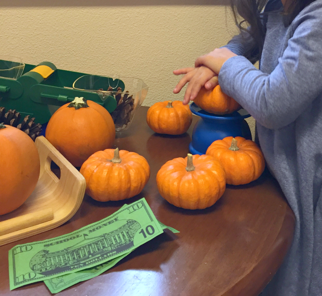 Pumpkin patch pretend play for preschool