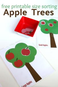 free printables for preschool size sorting tree