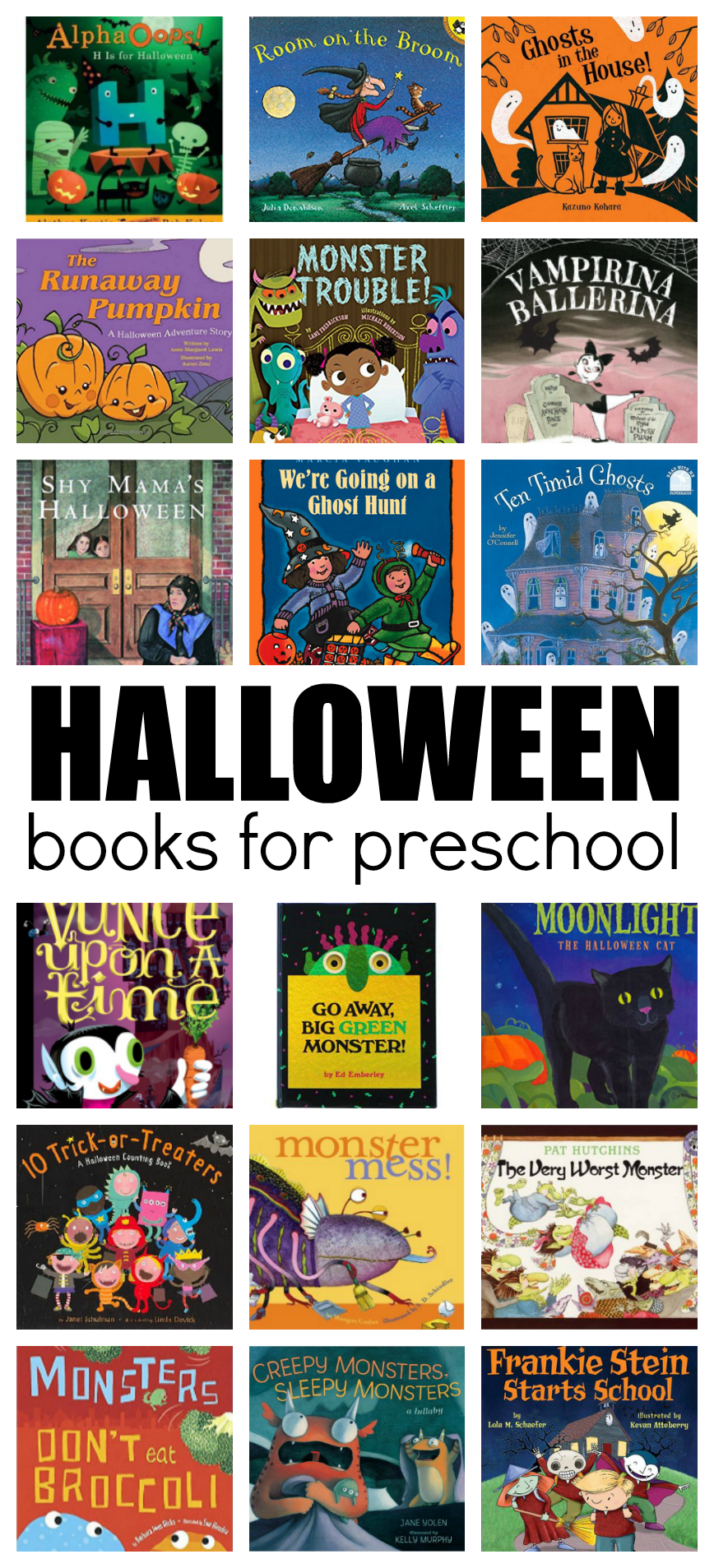 Great list of Halloween themed books for preschool and kindergarten