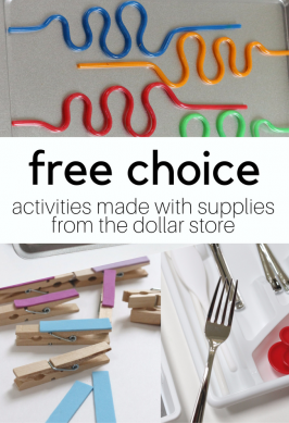 3 Simple Free Choice Activities made From Dollar Store Supplies!