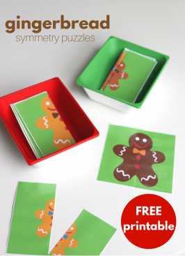 Gingerbread Symmetry Puzzles – Free Printable for Preschool