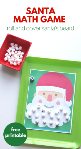 'Roll & Cover Santa Math Game – Free Printable Game!' from the web at 'https://www.notimeforflashcards.com/wp-content/uploads/2017/12/Santa-math-game-6-266x491.png'