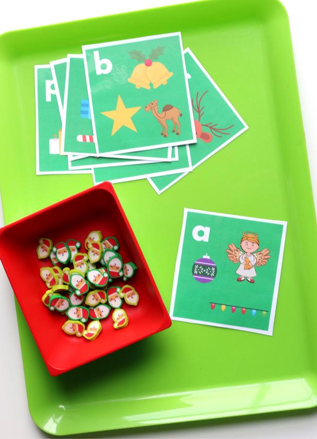 Target dollar spot mini eraser activities letter sound cards