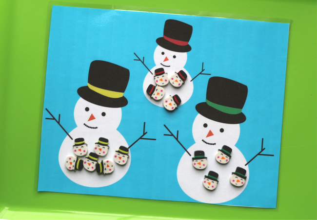 Target dollar spot mini eraser activities printables with snowmen