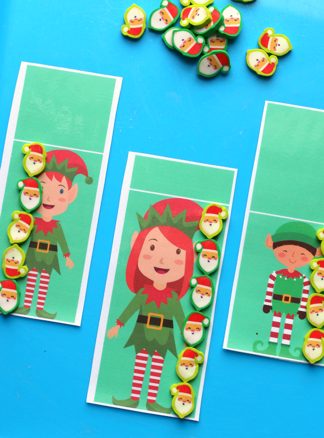 elf measuring with target dollar spot mini erasers