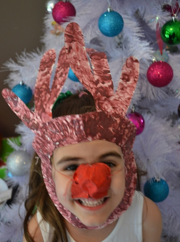 rudolph paper plate mask finished 2