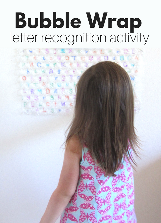 Bubble wrap letter recognition activity from No Time For Flash Cards