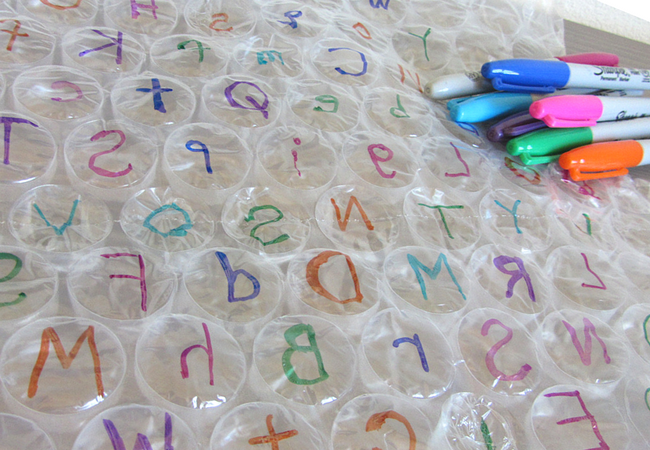 Bubble wrap letter recognition activity for preschool
