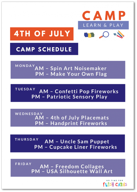 On 4th Of July Just This One Time I >> Camp Learn Play 4th Of July Week No Time For Flash Cards