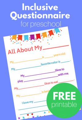 Inclusive Questionnaire for Preschool – FREE Printable