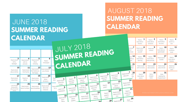 click here to download the summer reading calendars