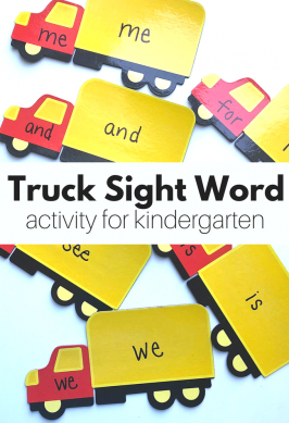 Magnetic Truck Sight Word Activity for Kindergarten