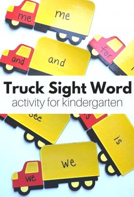 Magnetic Truck Sight Word Activity for Kindergarten