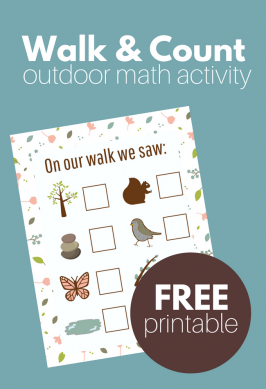 Nature Walk & Count – Gross Motor Math Activity ( and free printable)