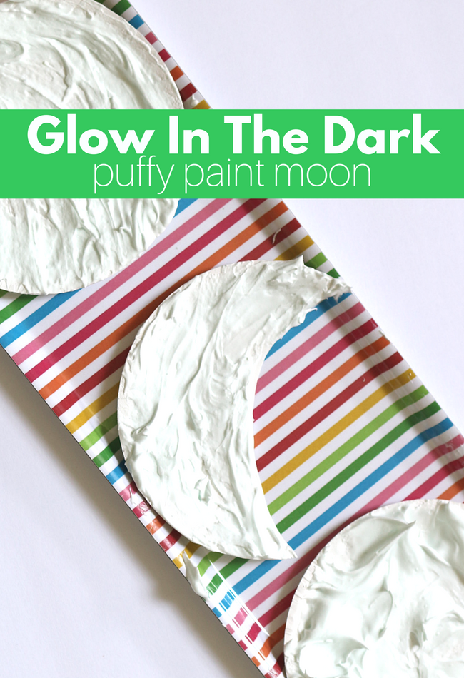 glow in the dark puffy paint  sc 1 st  No Time For Flash Cards & Glow In The Dark Puffy Paint Moon Craft - No Time For Flash Cards