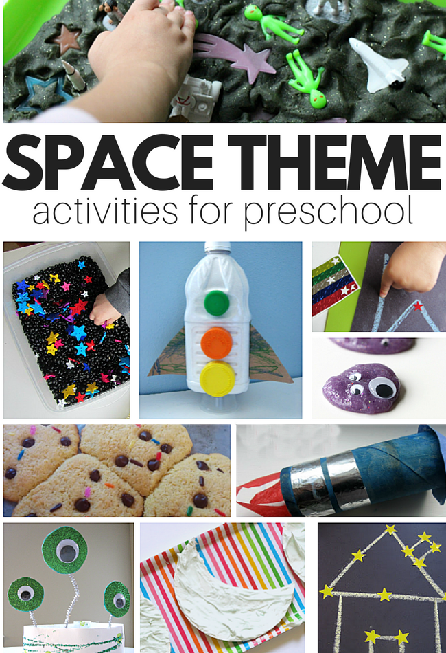 Space theme crafts, books, and sensory play for preschool