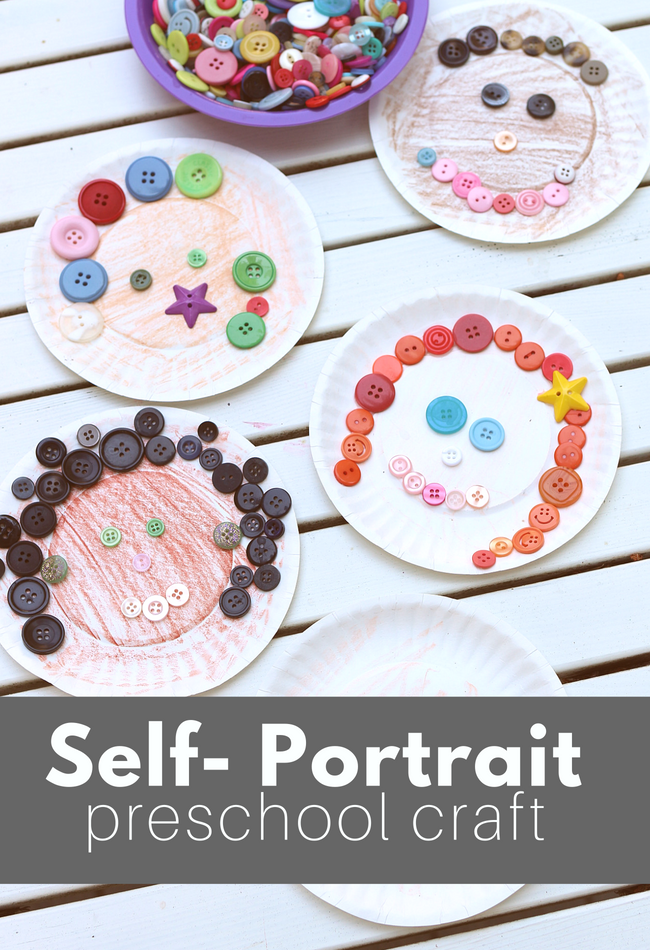 Paper Plate \u0026 Button Self Portrait Preschool Craft , No Time