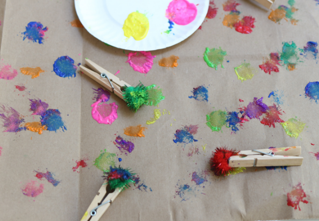 DIY wrapping paper with toddlers