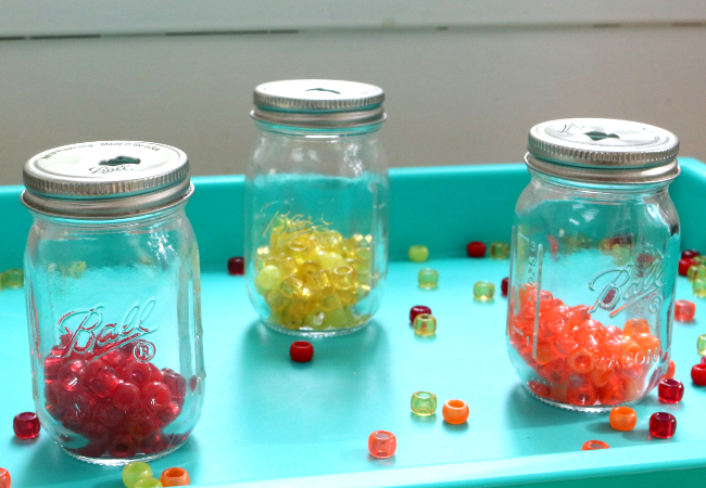 preschool fine motor activity with pony beads
