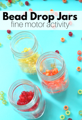 bead drop activity for preschool that develops fine motor skills