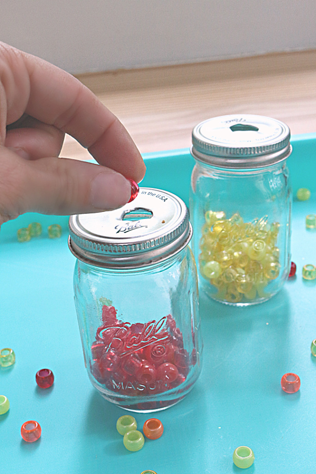 fine motor skills activity for preschool with beads