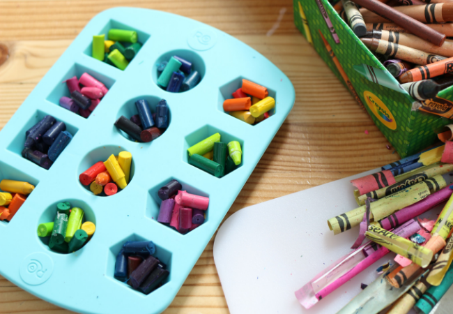 Recycled crayons for parties and toddlers