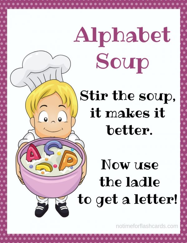 rhyme for a circle time activity for preschool about alphabet soup
