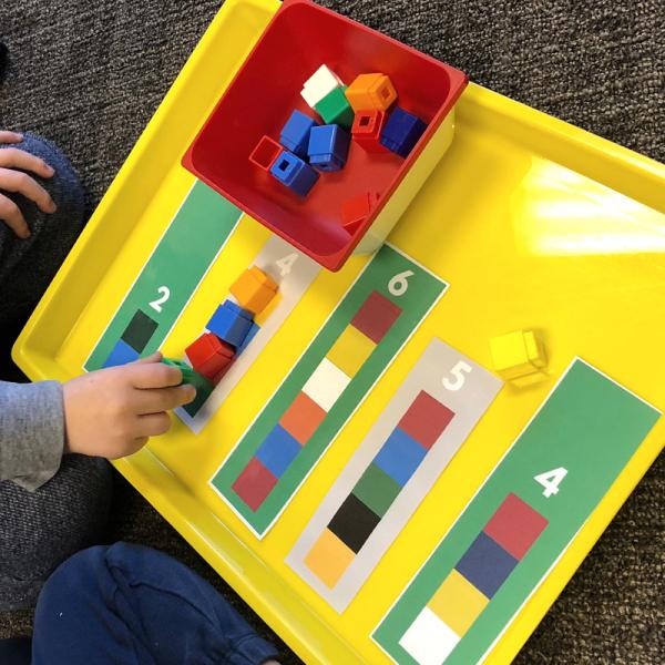 preschool math mats with unifix cubes math center activity
