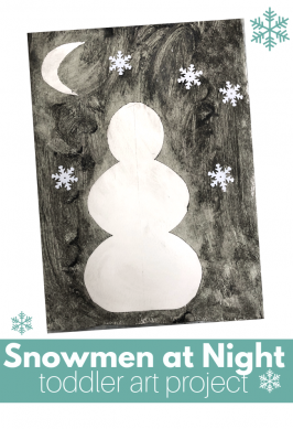 Snowmen at Night Toddler Art Project