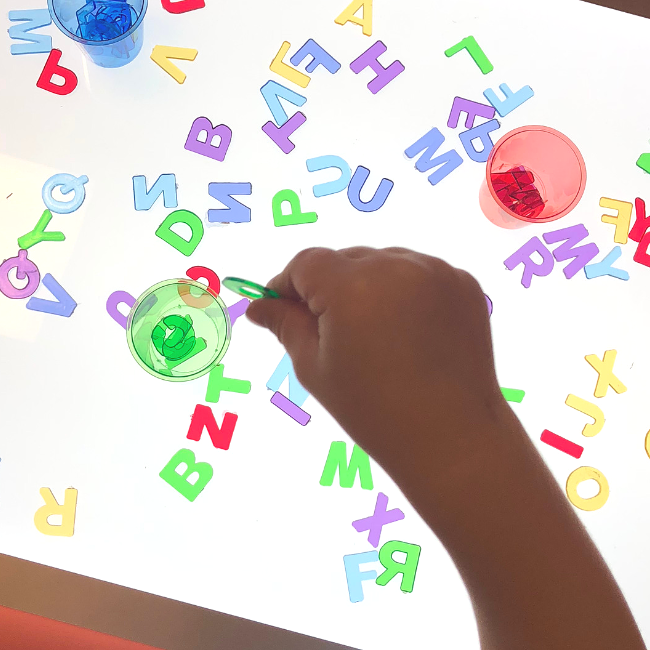 Light Table Color Sorting Activity - No Time For Flash Cards