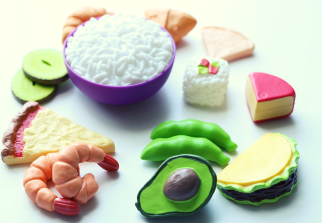 diverse food set for preschool