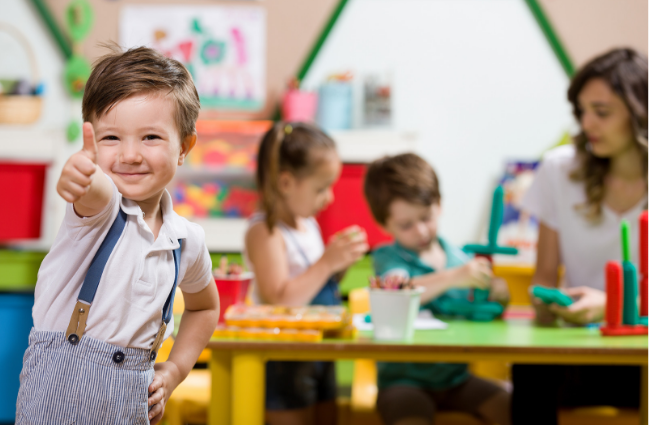 preschool child with good behavior because they have a predictable environment
