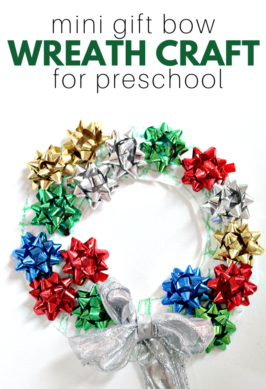 christmas craft using mini bows to make a wreath