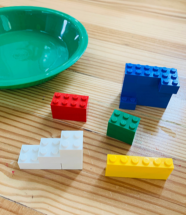 sorting with lego at preschool