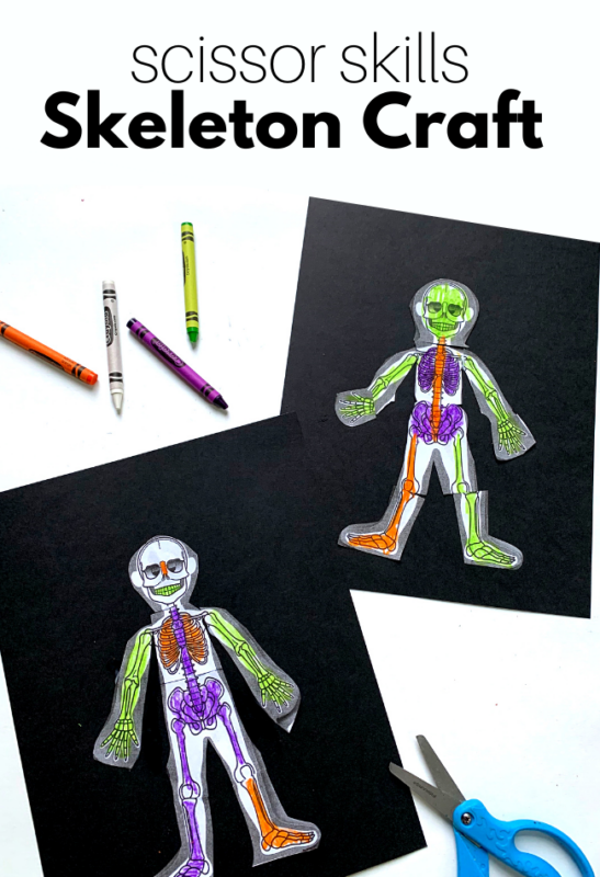 skeleton craft with crayons and scissors