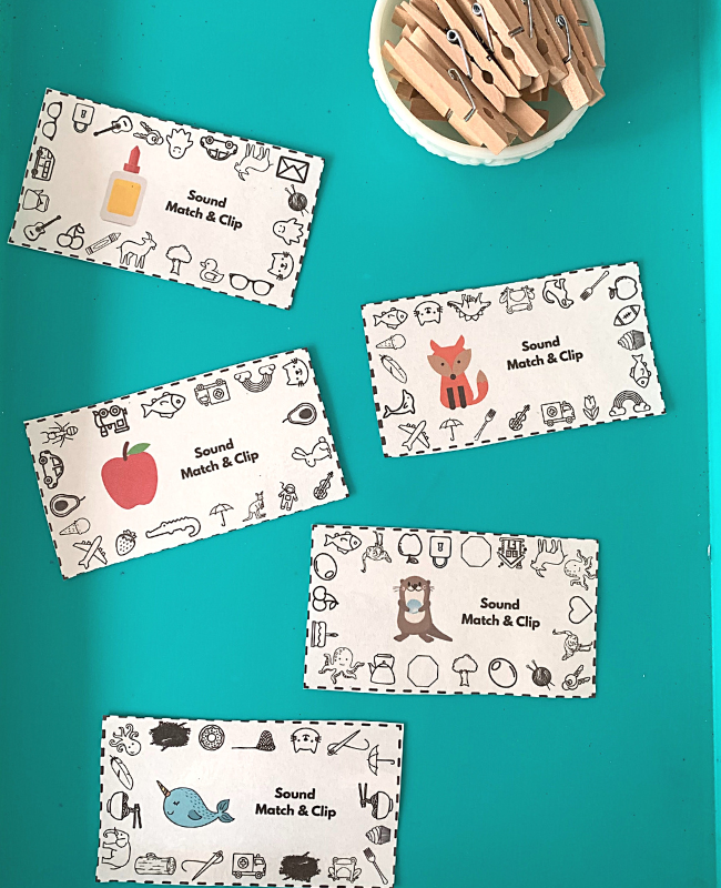 displaying the printable phonological awareness activity on a tray